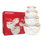 Набор керамических салатников с крышкой Oursson BS5980RC/OR
