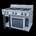 Плита газовая 6-ти горелочная ф6пдг/800 с духовкой - полностью газовая духовка GRILL MASTER